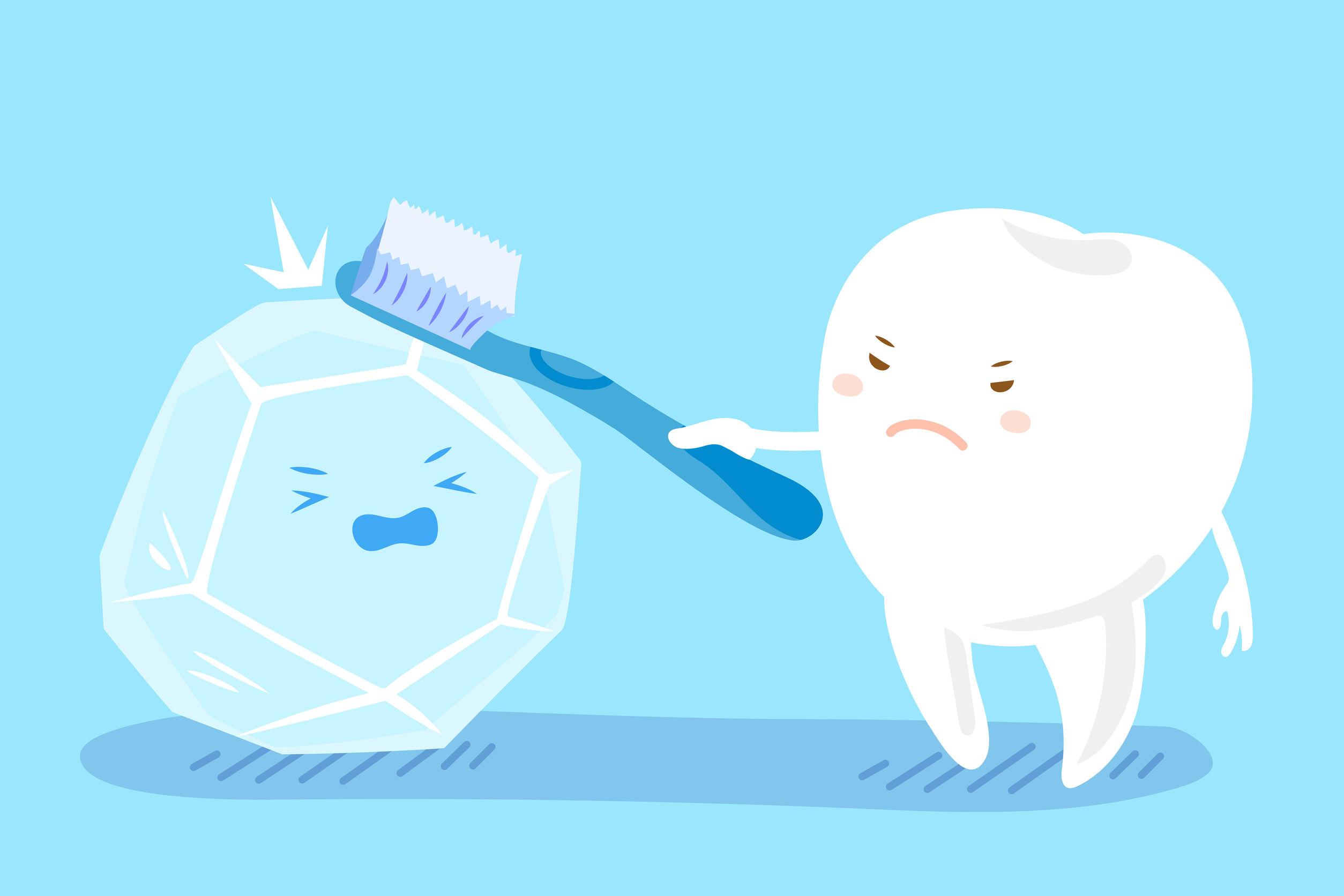 71996809 - cute cartoon health tooth take brush with ice