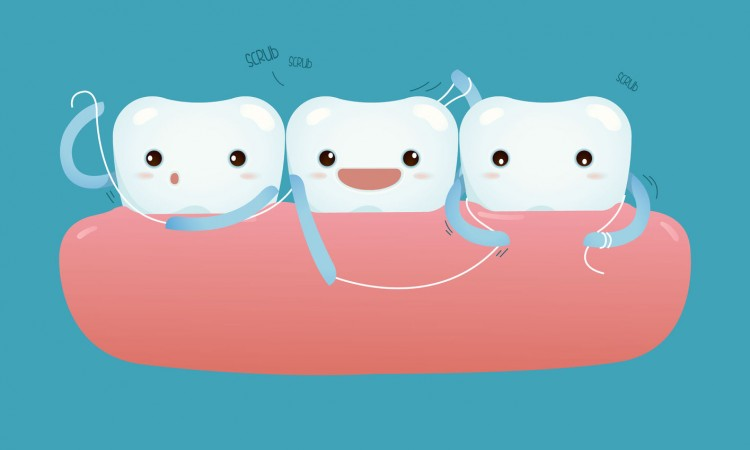 36814273 - teeth with dental floss for healthcare