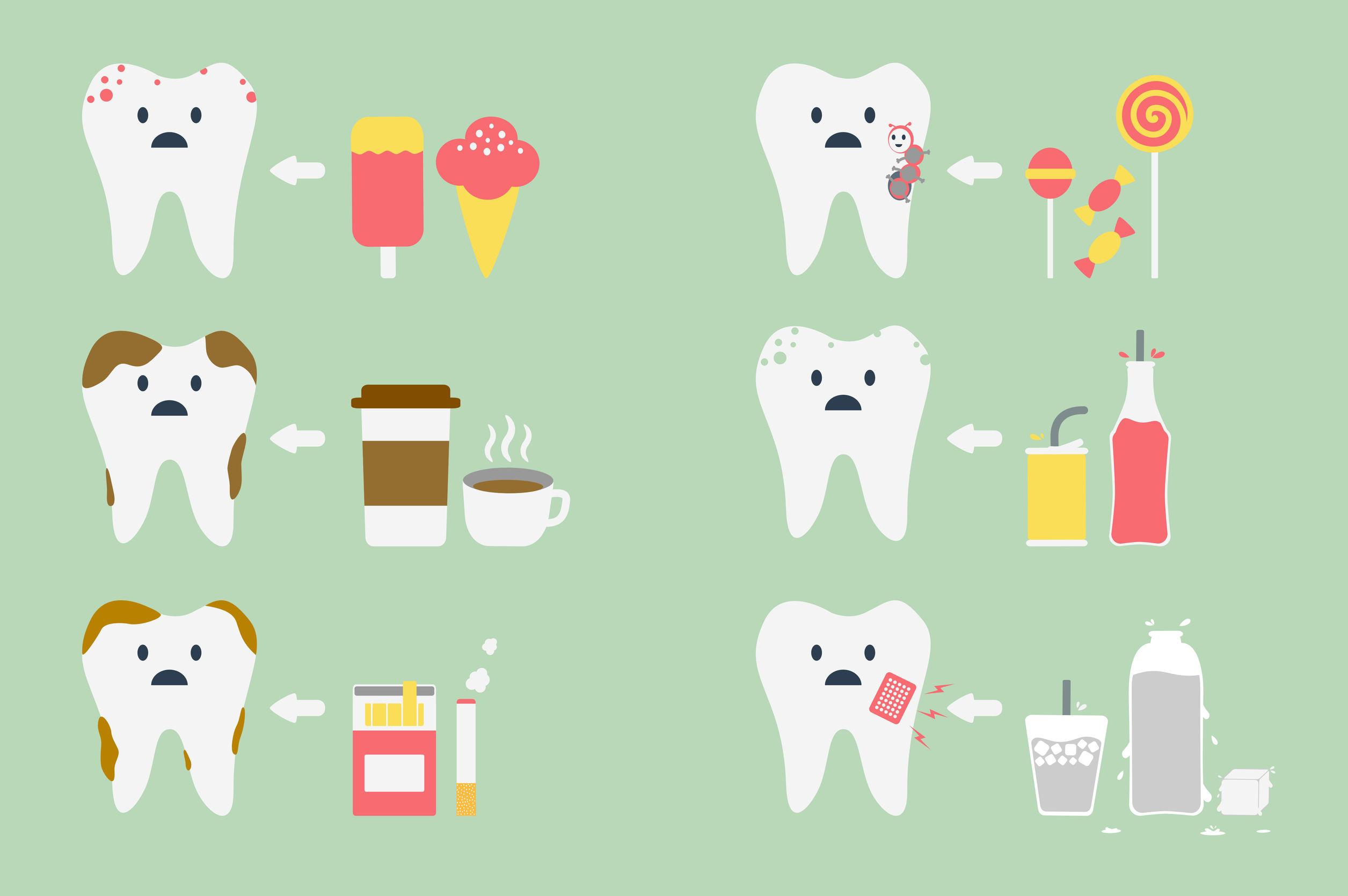 45219512 - dental cartoon vector, set of teeth problem